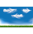 Background with blue sky and grass vector image vector image