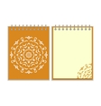 Spiral orange cover notebook with round ornate vector image