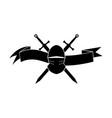 black logotype of knights helmet and swords vector image