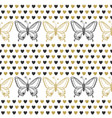cute seamless pattern with butterflies and hearts vector image