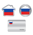 Home icon on the Russia flag vector image