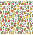 seamless pattern with tasty eco healthy fruits and vector image
