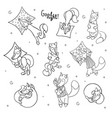 set of cute cartoon sleeping foxes with pillow vector image