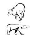 Silhouettes of bears on a white background vector image