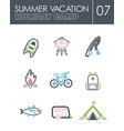 summer camping icon set summer holiday vector image