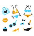 retro bikini icons vector image vector image