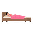cartoon sleeping woman in bed with baby vector image