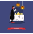 Vampire at halloween party Happy holiday concept vector image