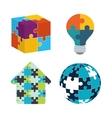 teamwork support puzzle set design vector image
