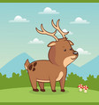 cute deer animal baby with landscape vector image