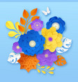 paper flowers abstract composition template vector image