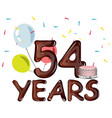 54 years anniversary invitation card vector image