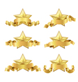 gold five star ribbon vector image