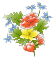 bunch of a flowers and green leafs vector image vector image