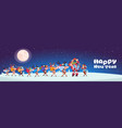 santa with reindeers carry stack of presents vector image