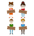 Set of cartoon boys and girls holding a sign for vector image