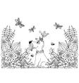 zentangl dog in flowers vector image