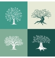 Olive trees silhouette icon set isolated on green vector image vector image