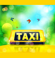yellow taxi sign on the car vector image