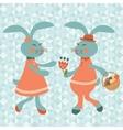Cute rabbits couple vector image