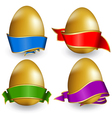 collection easter egg with ribbon of different col vector image vector image