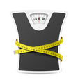 Bathroom scale with measuring tape vector image