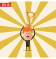 Cartoon business man hold winner cup - - EPS vector image