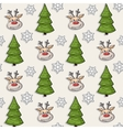 Christmas pattern with deer tree snowflakes vector image