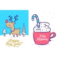 Funny new year set Christmas greeting card vector image