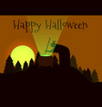 happy halloween the witch is brewing a potion vector image