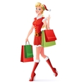 pretty woman in Santa outfit shopping and vector image