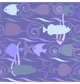 Shells and fish seamless pattern vector image