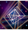 Shiny pyramid with color aberrations in space vector image