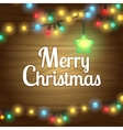 Christmas lights border frame vector image