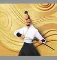 cartoon llustration of japanese samurai vector image
