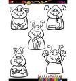 dog emotion set cartoon coloring book vector image vector image