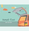 car open door on sky vintage background vector image