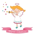 Christmas card with little angel vector image