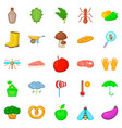 physical work icons set cartoon style vector image