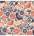Seamless pattern with birds and floral elements vector image