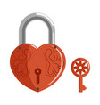 Decorative lock in shape of heart with pattern and vector image