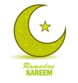 Yellow Moon and Star on White Background vector image