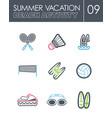 beach activity icon set summer vacation vector image