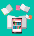 concept e-books world library tablet education vector image