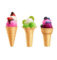 ice cream with fruits realistic set vector image