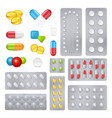 Medicine pills capsules realistic images set vector image
