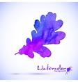 Purple watercolor painted oak leaf vector image