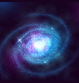 spiral galaxy in outer space with starry blue sky vector image