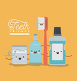 teeth friends dental care kawaii set with vector image