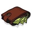 Wallet full of green dollars vector image